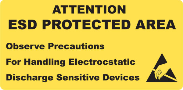 ESD Warning Signs - Attention ESD Protected Area