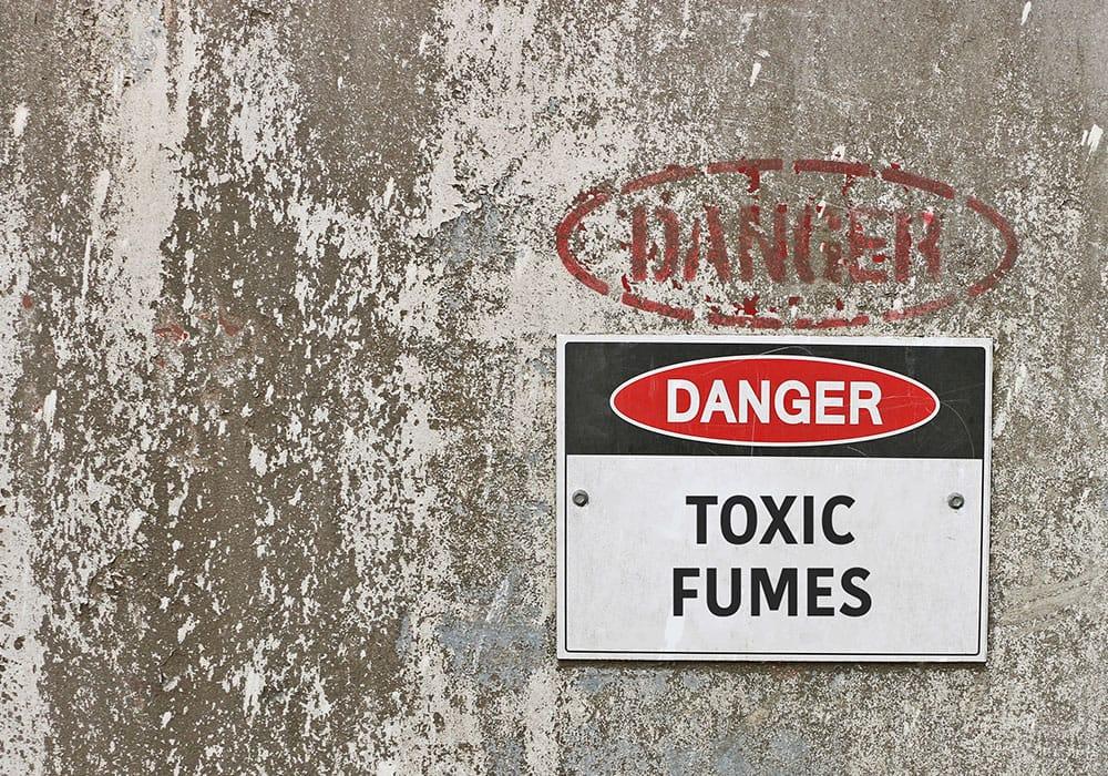 Toxic fumes warning sign